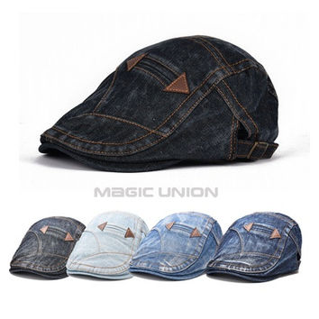 New Fashion Spring Summer Jeans Hats for Men Women High Quality Casual Unisex Denim Beret Caps OutDoors Flat Sun Cap for Cowboy [9221460612]