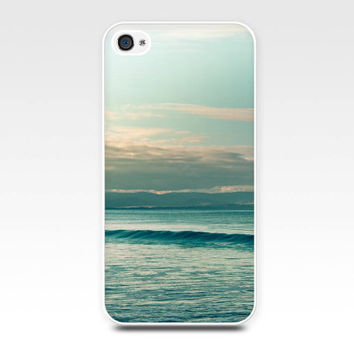 iphone 4 4s 5 case nautical beach scene ocean photography art photo vintage sunset teal aqua mint pastel sunset summer clouds mint ocean