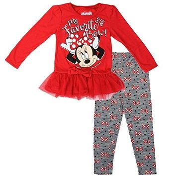 Red Tulle Minnie Mouse Girls 2-Piece Leggings & Top Set (3T)