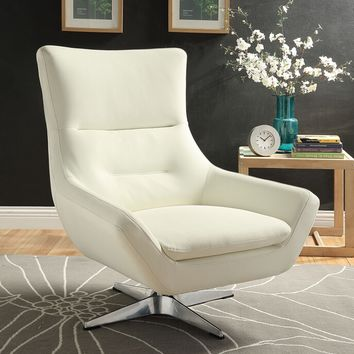 Acme 59730 Eudora white leather gel mid century modern swivel accent chair