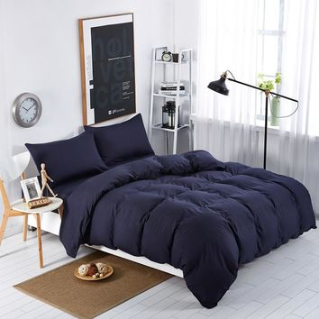 Double Color Deep dark blue Bedding Sets Simple Striped Bed Sheet Duver Quilt Cover Pillowcase Soft King Queen Full Twin 3/4pcs