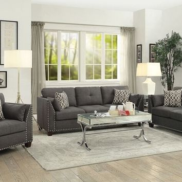 Acme 52405-06 2 pc Laurissa light charcoal linen fabric sofa and love seat set