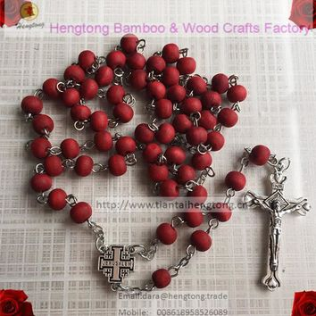 scent rosary,rose rosary, jerusalem cross centerpiece rosary, rosary necklace