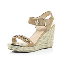 River Island Womens Beige leather chain front espadrille wedges
