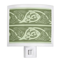 Celtic Knotwork Fish in Green Night Light