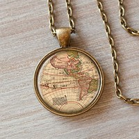 World Map Necklace, Old Map, Map Necklace, Vintage World Map, Art Glass, Handmade, Romantique Gift,