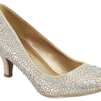 Shiny Gold Shoes with Small Heel