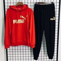 PUMA autumn and winter new trend men and women models outdoor sports and leisure two-piece red
