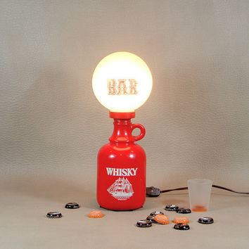 Vintage Whisky Bottle Lamp- Man Cave Decor- Red Bar Lamp