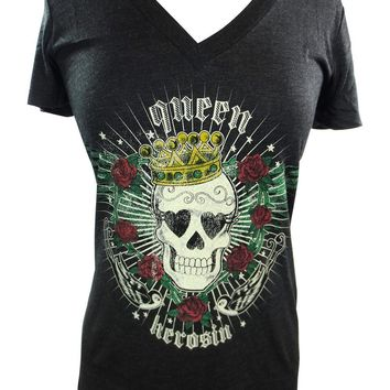 Rockabilly Tattoo Lady Tee - Skull Rose Sparrow Queen Skull T-shirt