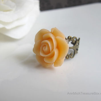 Peach Rose, Romantic flower ring. Antiqued FIligree Adjustable Shabby Chic Cocktail Ring Bridal Bridesmaids Accessory Country Wedding