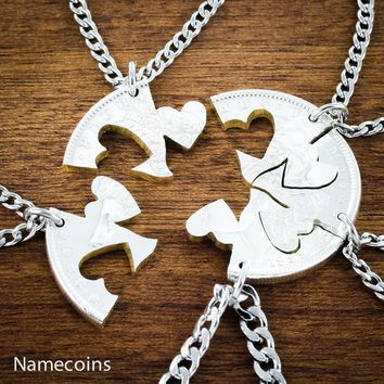 Our Hearts Together, 5 Piece Friends and Family Necklace by Namecoins