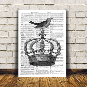 Antique art Royal print Modern decor Crown poster RTA385