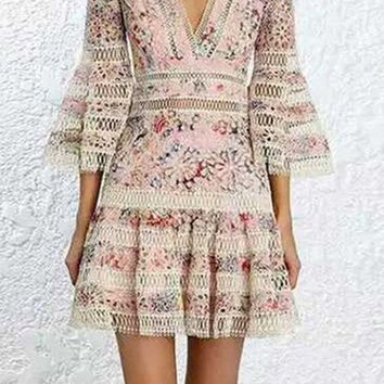High Flying Floral Pattern 3/4 Sleeve V Neck Flare Casual Mini Dress - 3 Colors Available