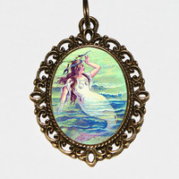 Mermaid Necklace Oval Pendant
