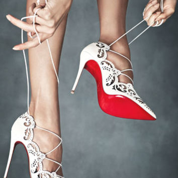 Christian Louboutin - Impera Lace-Up Red Sole Pump, White
