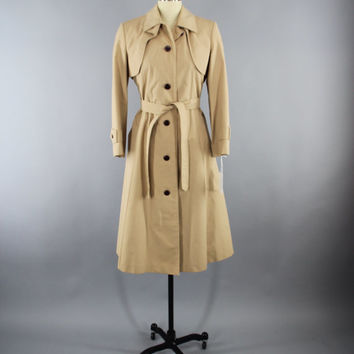 Vintage 1980s Aigner Trench Coat / 80s Etienne Aigner Overcoat / Tan Women's Rain Coat / Size Medium Large