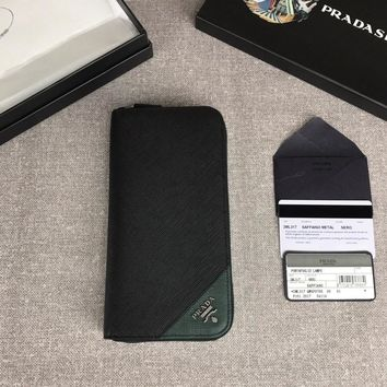 aa Kuyou Prada Fashion Women Men Gb19530 Document Holder 2ml188 Black And Green Zip-up Wallet 21cm*12cm