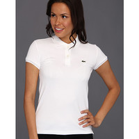 Lacoste S/S 2 Button Stretch Pique Polo White - Zappos.com Free Shipping BOTH Ways