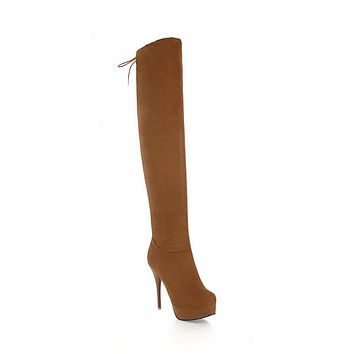 Faux Suede Stiletto Heel Over the Knee Boots Winter Shoes for Woman 6896