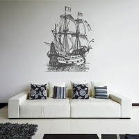 kik2445 Wall Decal Sticker ship barque frigate living room bedroom