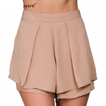 Simplee Apparel boho pleated chiffon elegant shorts women Summer style high waist sexy fitness skort Beach black girls shorts