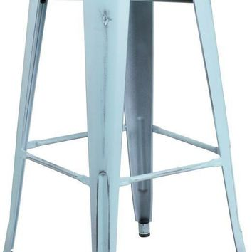 30'' High Backless Distressed Industrial Modern Metal Indoor-Outdoor Barstool (Multiple Colors)
