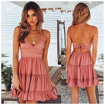 Women's Lace Beach Mini Sundress