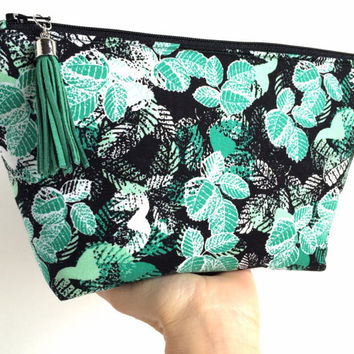 Large Cosmetic Bag, Boho Makeup Bag, Green Cosmetic Bag, Large Zipper Pouch, Large Makeup Bag