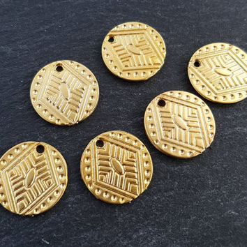 6 Tribal Style Round Rustic Disc Pendant Charms Jewelry Making Supplies Findings - 22k Matte Gold Plated
