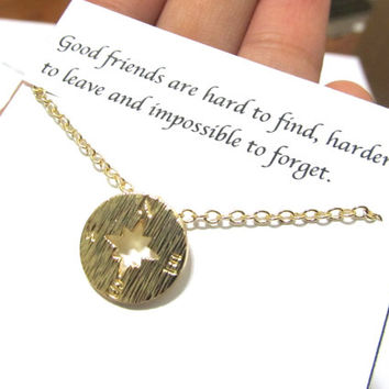 Compass necklace, Friendship compass necklace,A5, Best friend compass necklace,compass necklace friendship gift,best friend gift for friend