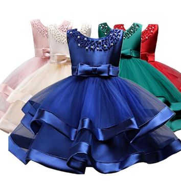 Flower Cake tutu Kids Clothing Elegent hand beading Girls Dresses for Children Princess Party Custumes 2-10 Years 1