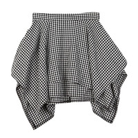 High-Low Ruffle Mini Checkered Skirt
