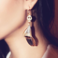 Feathered Skull Earrings