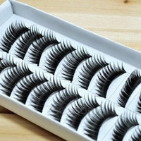 10 Pair Thick Long False Eyelashes Eyelash Eye Lashes Voluminous Makeup (Color: Black) [7653614406]
