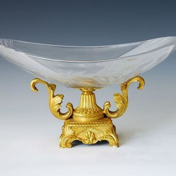 Crystal Glass fruit dish tray with bronze base table