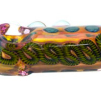 Nepal Glass - Fumed Phatty Pill Pipe with Latty & Color Spots