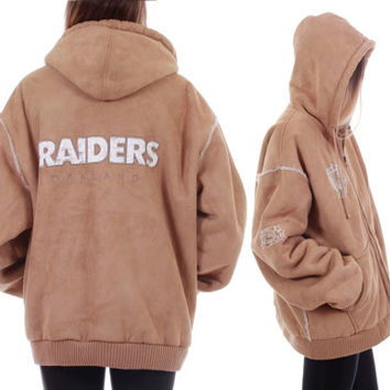 90s Vintage Oakland Raiders Faux Suede Hoodie Fur Lined Zip Up Jacket Warm Winter Coat Football Hip Hop Hipster Unisex Clothing Large XL