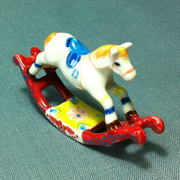 Miniature Ceramic Rocking Horse Chair Child Room Cute Little Tiny Small Red White Figurine Statue Decoration Hand Painted Collectible Figure