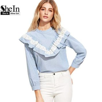 VONG2W SheIn Women Tops and Blouses 2017 New Fashion Long Sleeve Cute Women Tops Blue Vertical Striped Lace Trim Ruffle Blouse