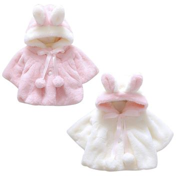 Winter Korean Version Baby Infant Girls Fur Thickened Warm Coat Cloak Jacket Cute Thick Clothes With Hat