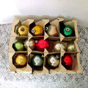 Box Of Mercury Christmas Ornaments Earlier Vintage Set Of 13 Shiny Bright Decorative Bulbs Collectible Gift Item 2357