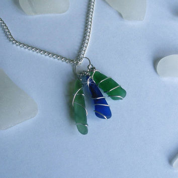 Sea glass necklace in green and blue. Wire wrapped beach glass jewelry