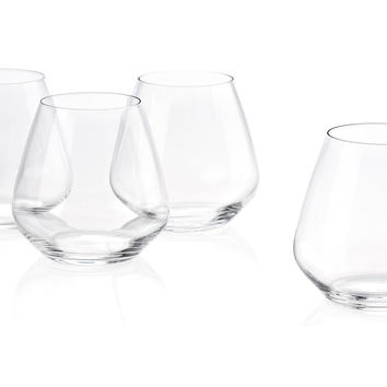 Stemless Pinot Noir Glasses, Set of 6, Wine Glasses