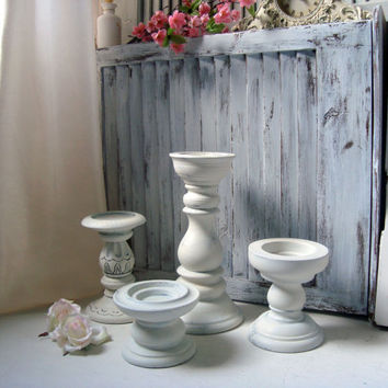 Shabby Chic Antique White Chunky Candle Holders, Off White Distressed Pillar Candleholders, Cottage Chic