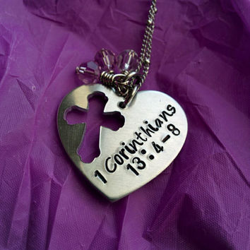 1 Corinthians 13:4-8 prayer Necklace - Prayer Jewelry - Love Necklace - Mom Jewelry - Mom Necklace - Prayer Necklace - Love Conquers