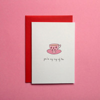 A6 You're My Cup Of Tea Funny Pun Greeting Card Anniversary Love, Cute Greeting Anniversary Card, Love, For Him, For Her, First Anniversary