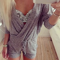 Gray Plunging Neck Drawstring Romper