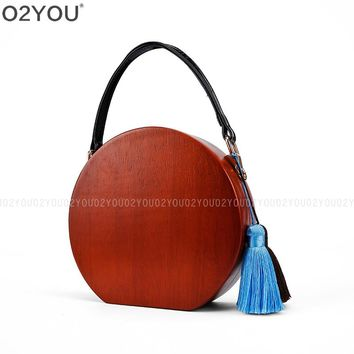2017 bradn fashion Women wood evening bag cute box solid wooden wallet Euramerican Clutch Spring Summer woman party shoulder bag