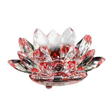 Crystal Glass Lotus Flower Candle Tea Light Holder Buddhist
